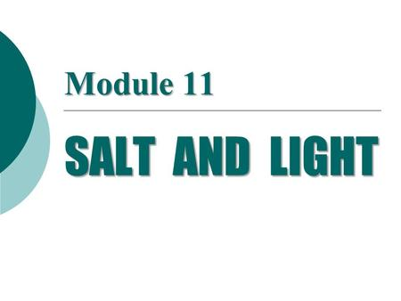 Module 11 SALT AND LIGHT.