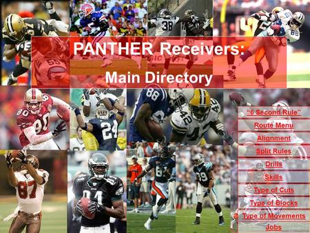 6 Second Rule Drills Skills Type of Cuts Alignment Type of Blocks Type of Movements Jobs Split Rules Route Menu PANTHER Receivers: Main Directory.