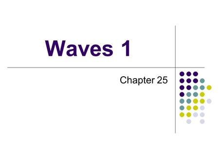 Waves 1 Chapter 25. Vocabulary Wave Vibratory disturbance that propagates (moves) through a medium Pulse Single disturbance Medium Material through which.