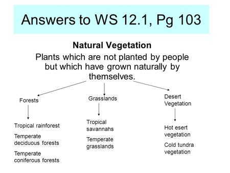 Answers to WS 12.1, Pg 103 Natural Vegetation