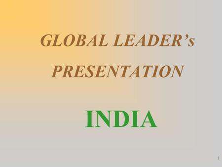 GLOBAL LEADER's PRESENTATION