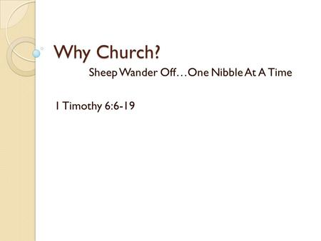 Why Church? Sheep Wander Off…One Nibble At A Time 1 Timothy 6:6-19.