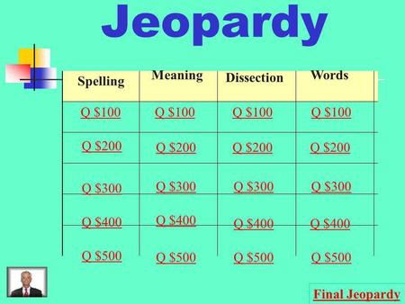 Jeopardy Spelling Meaning Dissection Words Q $100 Q $200 Q $300 Q $400 Q $500 Q $100 Q $200 Q $300 Q $400 Q $500 Final Jeopardy.