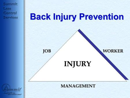 Back Injury Prevention JOBWORKER MANAGEMENT INJURY.