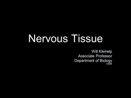 Nervous Tissue Will Kleinelp Associate Professor Department of Biology ©2006 Will Kleinelp Associate Professor Department of Biology ©2006.