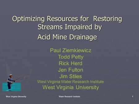 West Virginia UniversityWater Research Institute1 Optimizing Resources for Restoring Streams Impaired by Acid Mine Drainage Paul Ziemkiewicz Todd Petty.