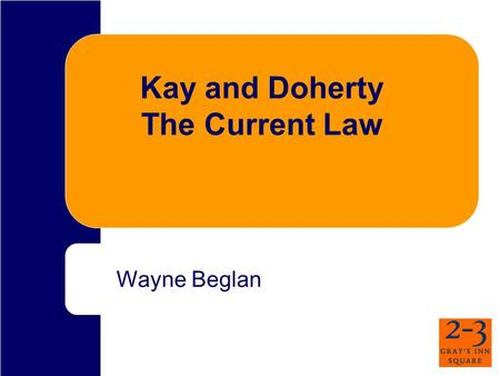 Kay and Doherty The Current Law Wayne Beglan. Sequence of cases Qazi (HL) Connors(ECtHR) Kay (HL x7) McCann (ECtHR) Doherty (HL) Dixon (15 Jan 09, HC)