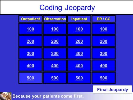 Because your patients come first. Coding Jeopardy 100 300 100 300 100 300 100 200 300 400 500 OutpatientObservationInpatientER / CC 200 Final Jeopardy.