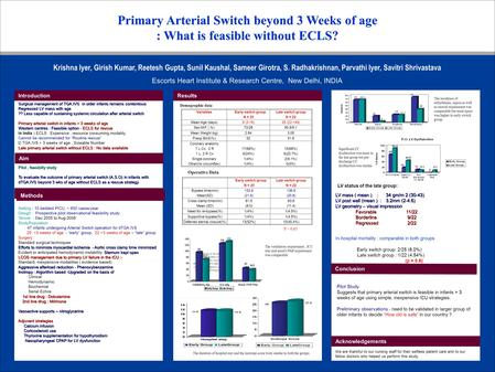 Primary Arterial Switch beyond 3 Weeks of age : What is feasible without ECLS? Surgical management of TGA.IVS in older infants remains contentious Regressed.
