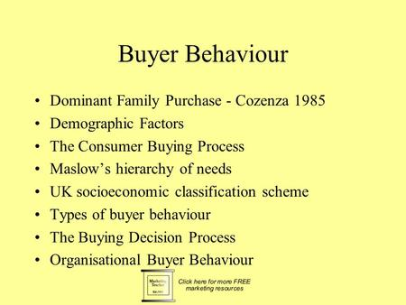 Buyer Behaviour Dominant Family Purchase - Cozenza 1985