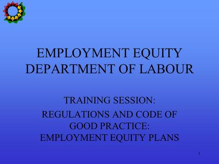 1 EMPLOYMENT EQUITY DEPARTMENT OF LABOUR TRAINING SESSION: REGULATIONS AND CODE OF GOOD PRACTICE: EMPLOYMENT EQUITY PLANS.