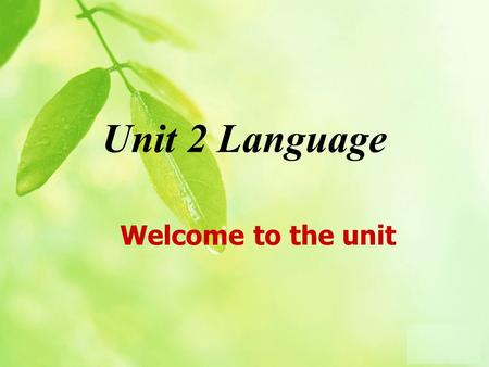 Unit 2 Language Welcome to the unit. Brainstorming (1) Whats your native tongue? Can you speak any other languages?