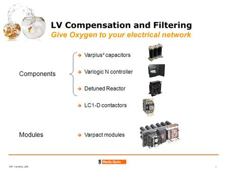 CEF - Marketing - 2006 1 LV Compensation and Filtering Give Oxygen to your electrical network Varplus² capacitors Varlogic N controller Detuned Reactor.