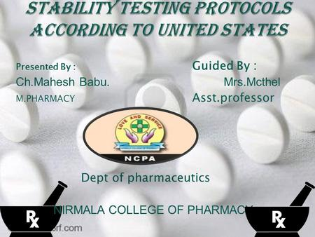 Presented By : Guided By : Ch.Mahesh Babu.Mrs.Mcthel M.PHARMACY Asst.professor Dept of pharmaceutics NIRMALA COLLEGE OF PHARMACY.