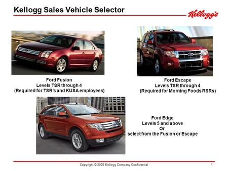 Copyright © 2008 Kellogg Company Confidential 1 Ford Fusion Levels TSR through 4 (Required for TSRs and KUSA employees) Ford Escape Levels TSR through.
