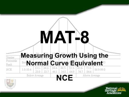 Measuring Growth Using the Normal Curve Equivalent NCE MAT-8.