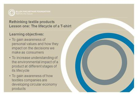 Rethinking textile products Lesson one: The lifecycle of a T-shirt