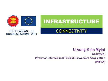 U Aung Khin Myint Chairman, Myanmar International Freight Forwarders Association (MIFFA) INFRASTRUCTURE CONNECTIVITY.