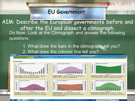 EU Government AIM: Describe the European governments before and after the EU and dissect a climograph. Do Now: Look at the Climograph and answer the following.