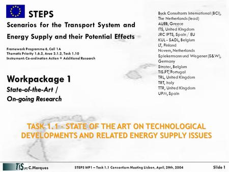 STEPS WP1 – Task 1.1 Consortium Meeting Lisbon, April, 29th, 2004 Slide 1 C.Marques STEPS Scenarios for the Transport System and Energy Supply and their.