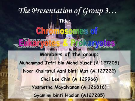 The Presentation of Group 3… Title: Members of the group: Muhammad Jefri bin Mohd Yusof (A 127205) Noor Khairatul Azni binti Mat (A 127222) Chai Lee Chin.