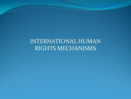 INTERNATIONAL HUMAN RIGHTS MECHANISMS