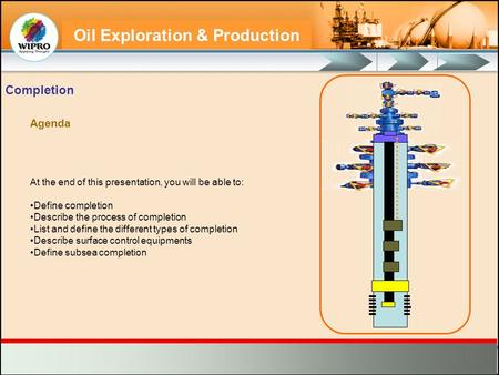 Oil Exploration & Production At the end of this presentation, you will be able to: Define completion Describe the process of completion List and define.