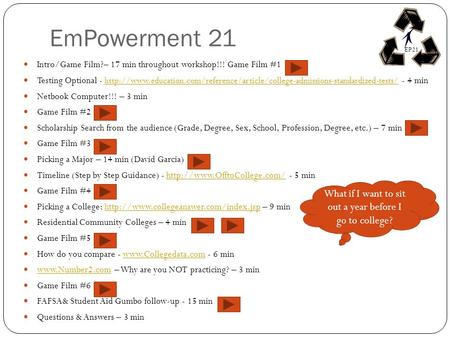 EmPowerment 21 Intro/Game Film?– 17 min throughout workshop!!! Game Film #1 Testing Optional -