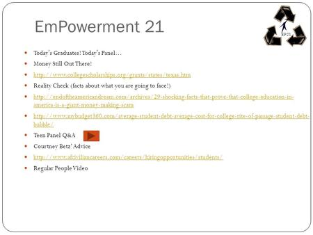 EmPowerment 21 Todays Graduates! Todays Panel… Money Still Out There!  Reality Check (facts about.