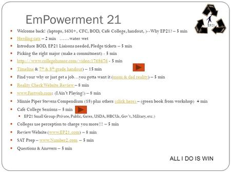 EmPowerment 21 Welcome back! (laptops, $6M+, CFC, BOD, Café College, handout, )--Why EP21? – 5 min Herding cats – 2 min ……water wet Herding cats Introduce.