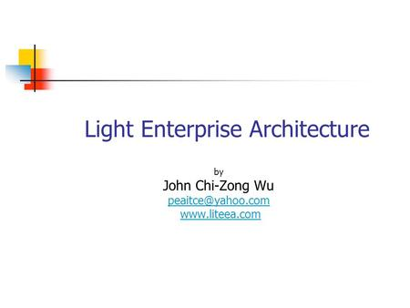 Light Enterprise Architecture