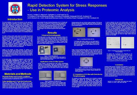 Rapid Detection System for Stress Responses - Use in Proteomic Analysis Nicola J. Holden (1), Maurice P. Gallagher (1), and Frank Fox (2). (1) Institute.