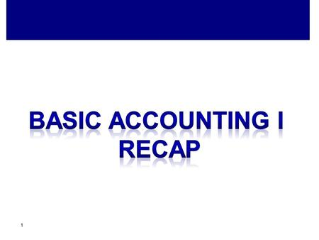 Basic accounting I recap.