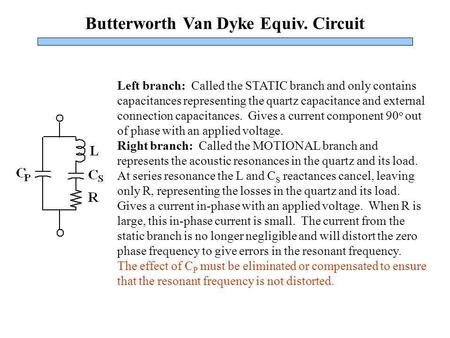 Butterworth Van Dyke Equiv. Circuit Left branch: Called the STATIC branch and only contains capacitances representing the quartz capacitance and external.