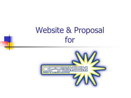 Website & Proposal for. Agenda Logos designs Website designs Fees Marketing a Optimum Energy Services Marketing Examples Sales Support Services Offered.