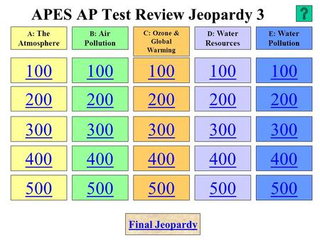 APES AP Test Review Jeopardy 3 100 200 300 400 500 100 200 300 400 500 100 200 300 400 500 100 200 300 400 500 100 200 300 400 500 A: The Atmosphere B: