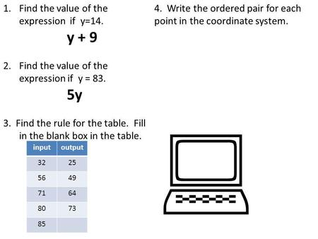 1.Find the value of the expression if y=14. y + 9 2.Find the value of the expression if y = 83. 5y 3. Find the rule for the table. Fill in the blank box.