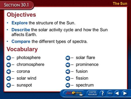 Objectives Explore the structure of the Sun. The Sun Describe the solar activity cycle and how the Sun affects Earth. Compare the different types of spectra.