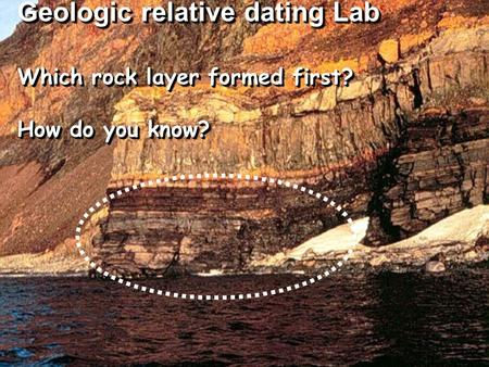 Relative Dating – Lab Which geologic event occurred first?? Which rock layer formed first? How do you know? Which rock layer formed first? How do you know?