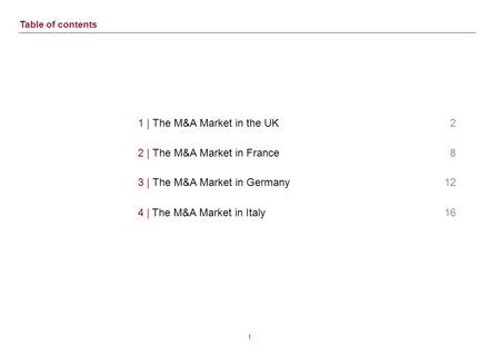 0 European M&A Market Trends Outlook for the UK, France, Germany and Italy May 11th, 2011.