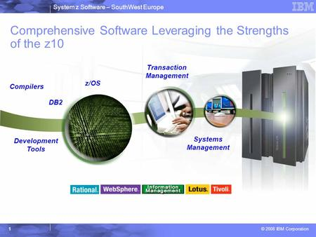System z Software – SouthWest Europe © 2008 IBM Corporation 1 Comprehensive Software Leveraging the Strengths of the z10 Compilers DB2 Development Tools.
