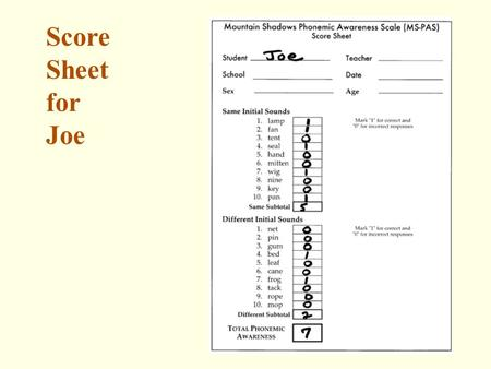 Score Sheet for Joe. MS-PAS Norms Page 15 Results.