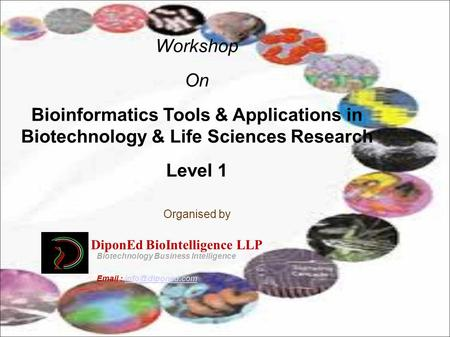 Workshop On Bioinformatics Tools & Applications in Biotechnology & Life Sciences Research Level 1 Organised by DiponEd BioIntelligence LLP Biotechnology.