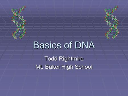 Basics of DNA Todd Rightmire Mt. Baker High School.