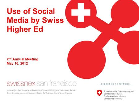 Use of Social Media by Swiss Higher Ed Initiative of the State Secretariat for Education and Research SER Annex of the Consulate General. Swiss Knowledge.