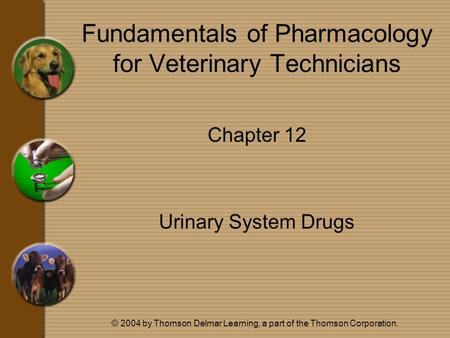 © 2004 by Thomson Delmar Learning, a part of the Thomson Corporation. Fundamentals of Pharmacology for Veterinary Technicians Chapter 12 Urinary System.