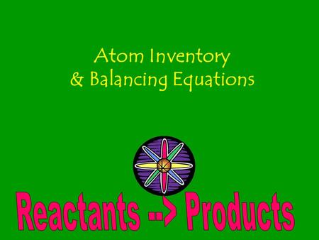 Atom Inventory & Balancing Equations. Question… What happens to the ice cream you (or I!) eat?? What happens to the gasoline you put into your car? Do.
