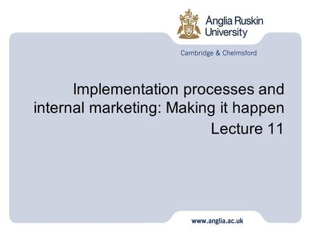 Implementation processes and internal marketing: Making it happen Lecture 11.