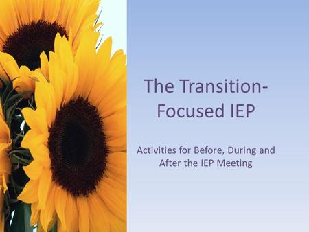 The Transition- Focused IEP Activities for Before, During and After the IEP Meeting.