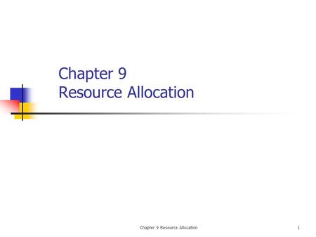 Chapter 9 Resource Allocation1. 2 Introduction This chapter addresses: Trade-offs involved to crash cost Relationship between resource loading and leveling.